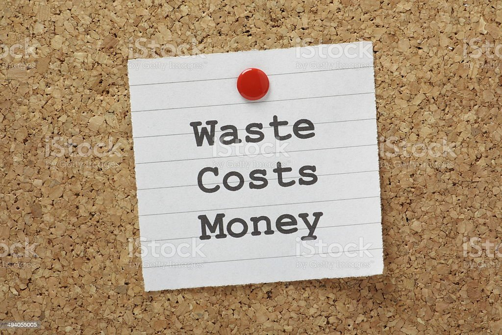 Waste Costs Money stock photo