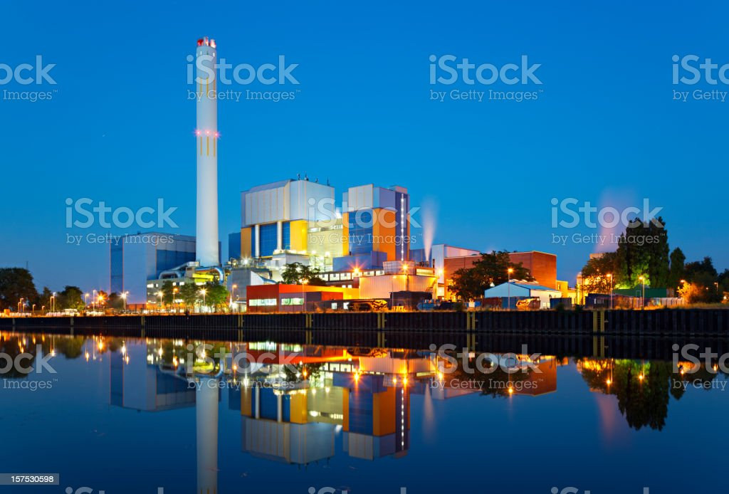 Waste Incineration Plant At Night stock photo