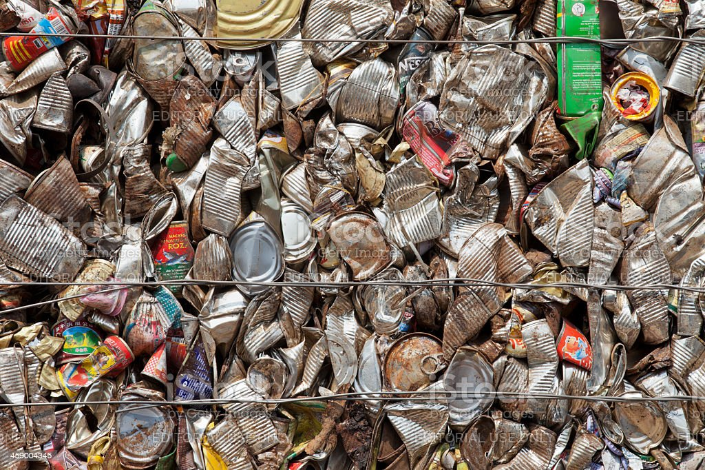 Waste metal cans ready for recycling. royalty-free stock photo
