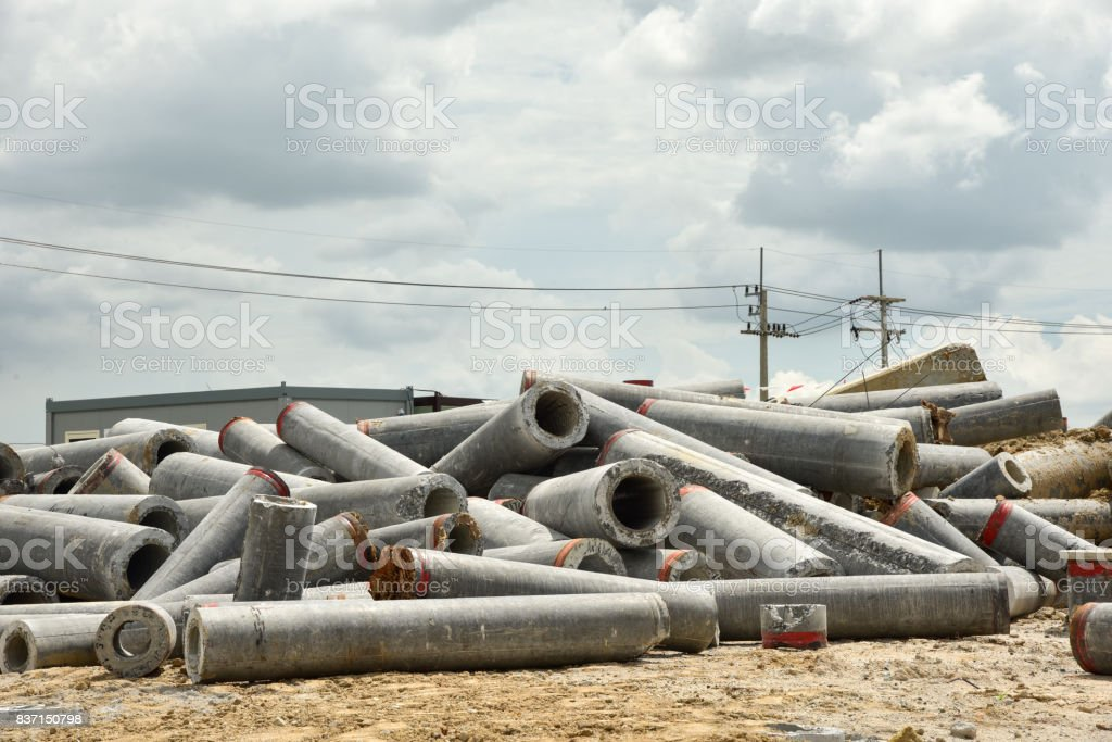 Waste of concrete pile in construction site stock photo