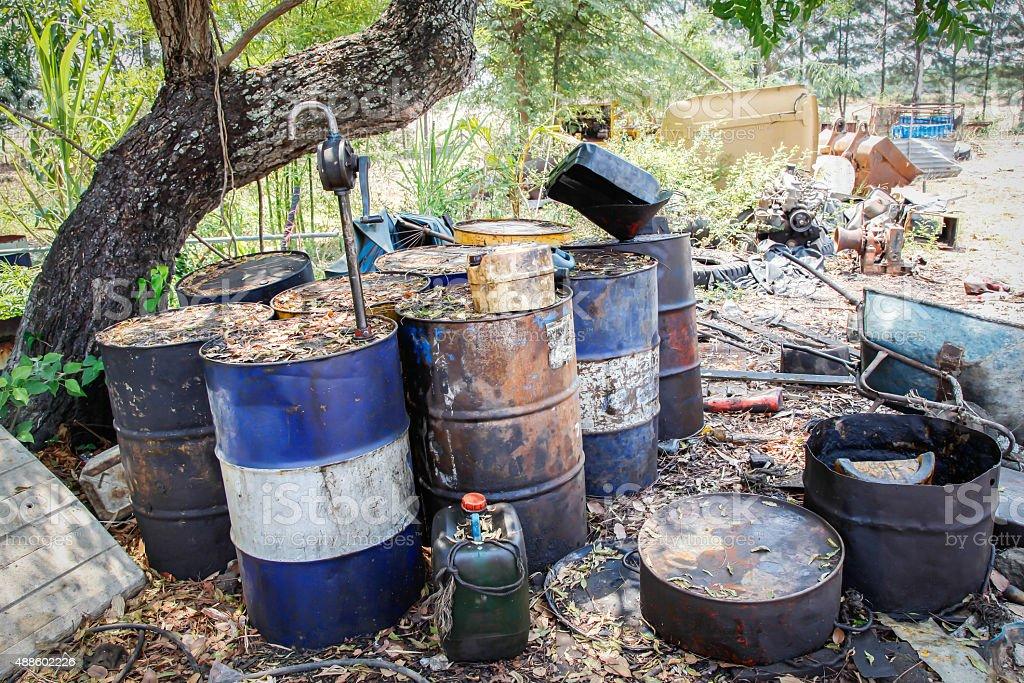 waste oil tank stock photo