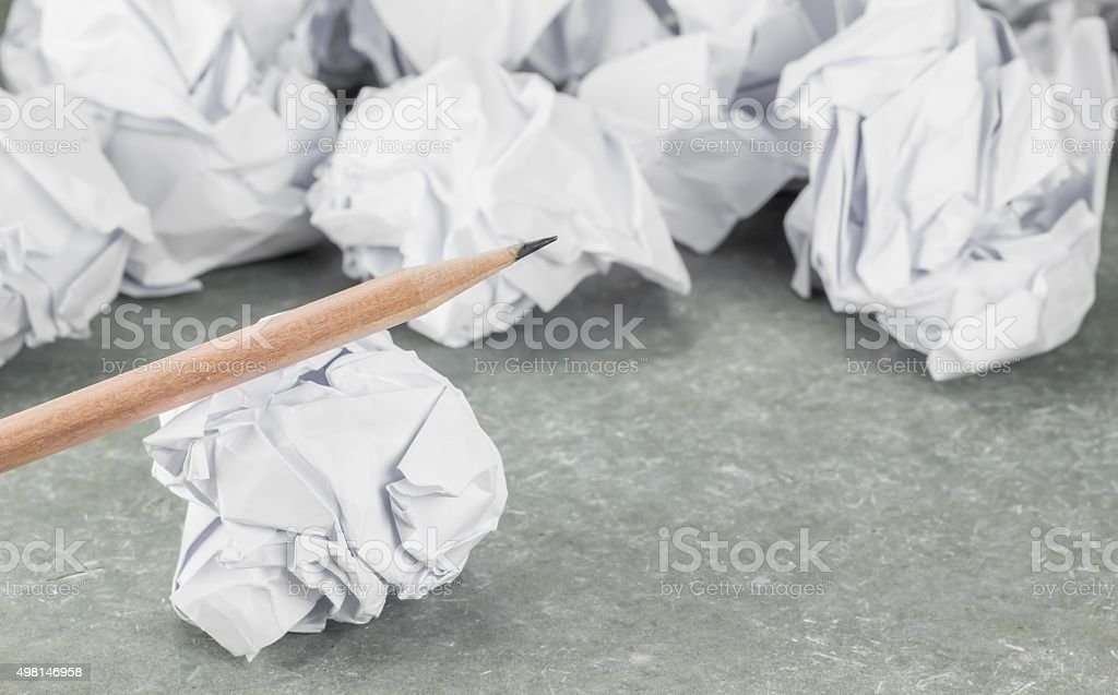 waste paper and pencil stock photo