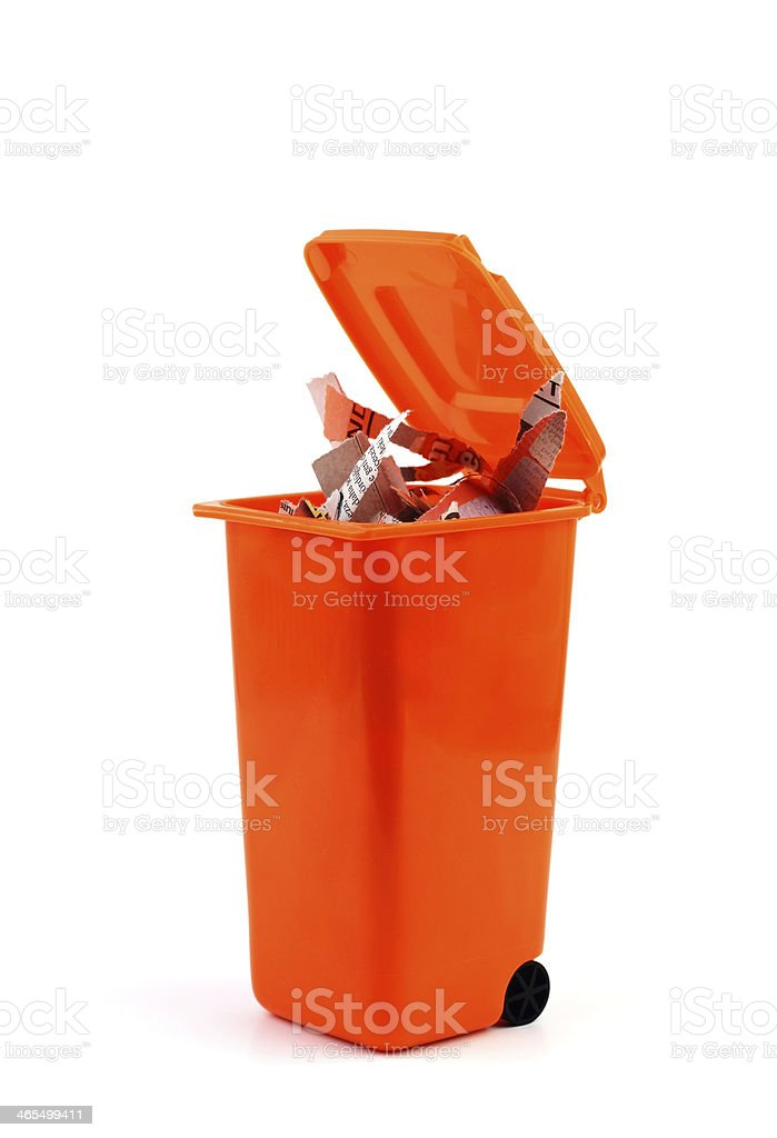 Waste papers in recycle bin royalty-free stock photo
