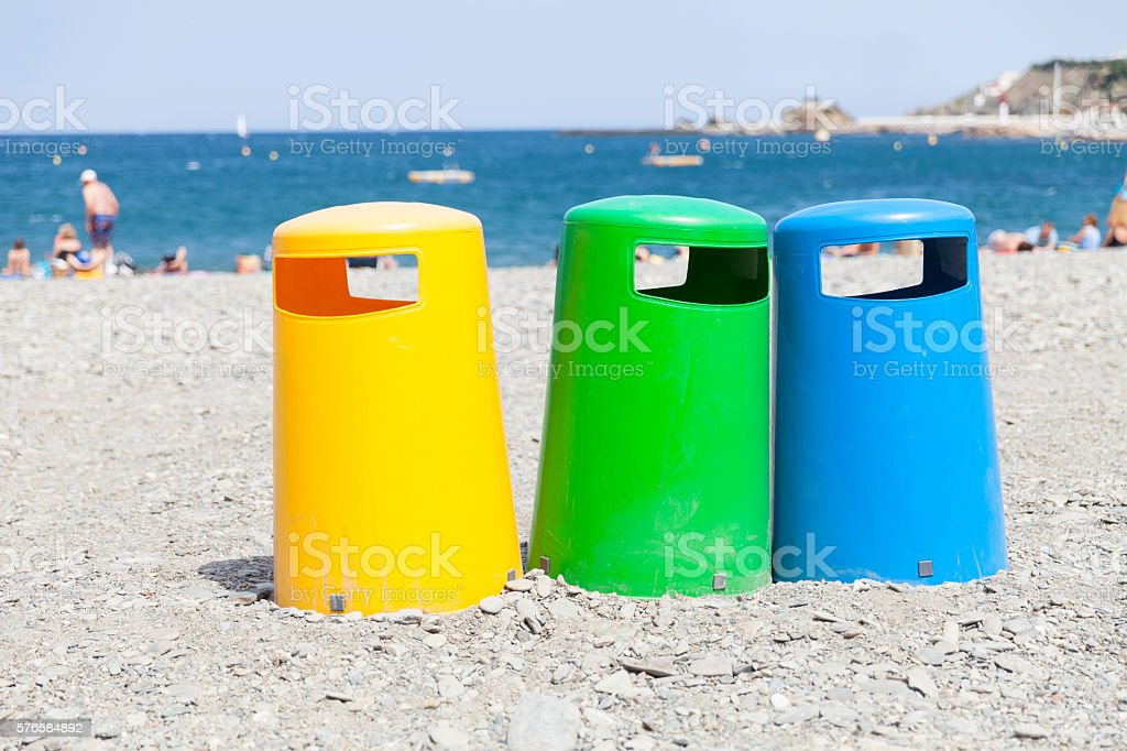 Waste separation at the beach stock photo