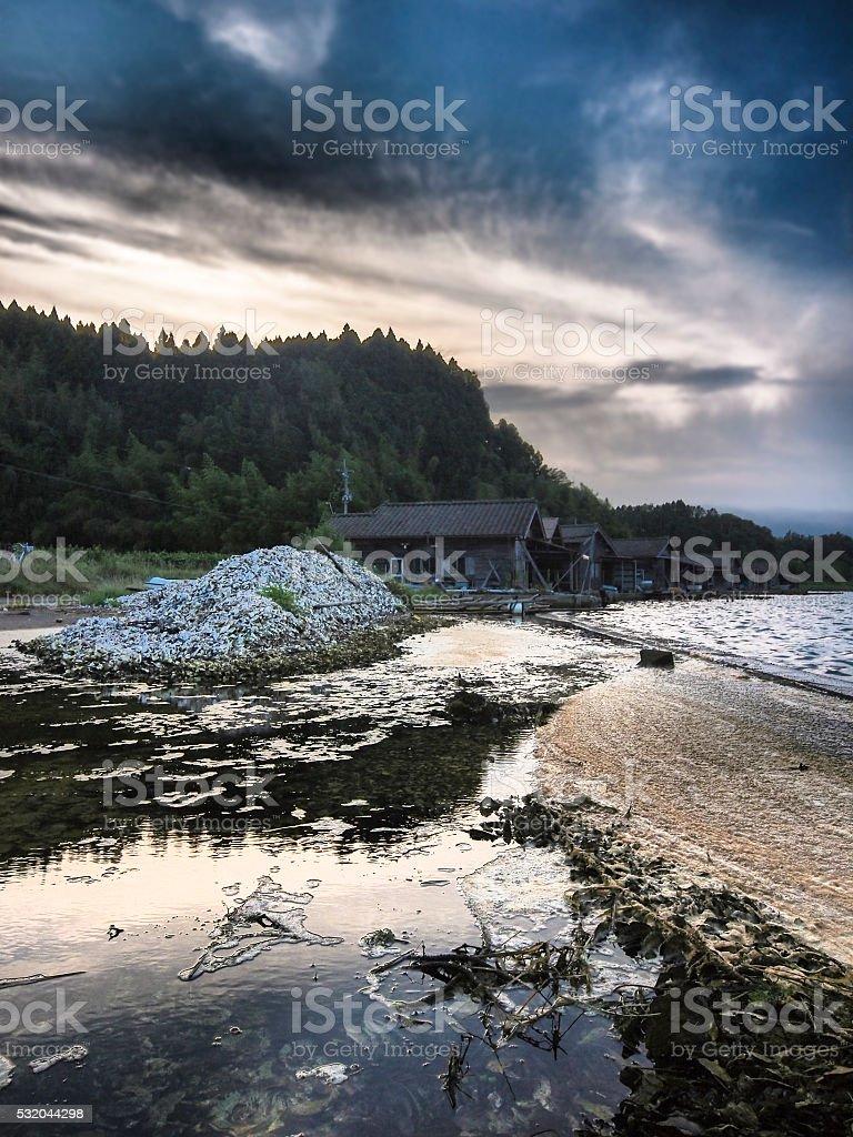 Waste shells around Lake Kamo on Sado Island in HDR stock photo
