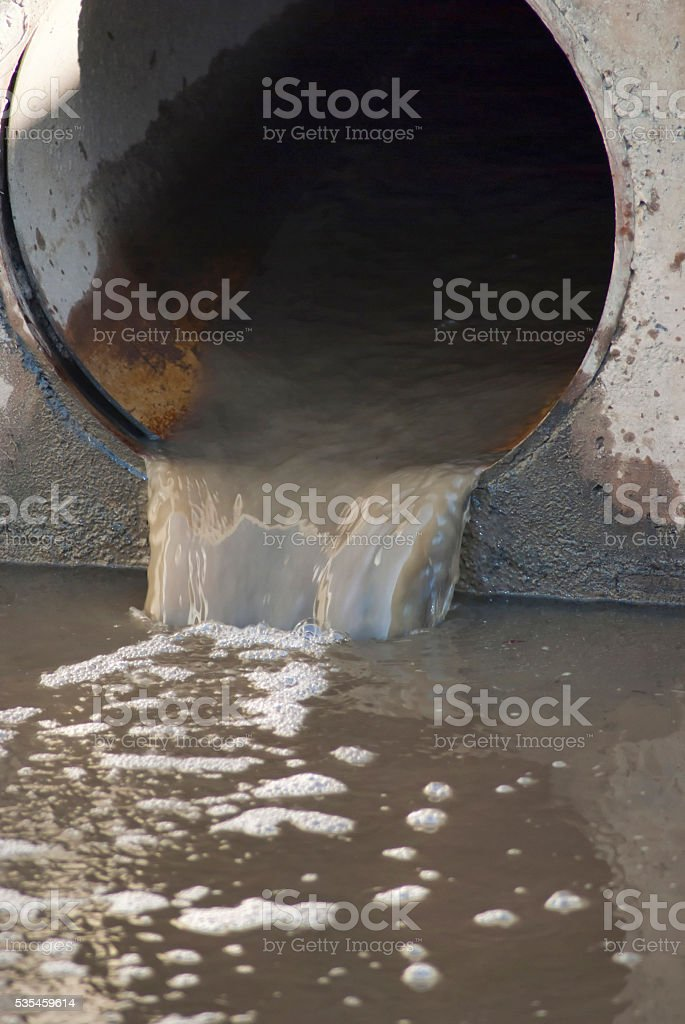 Waste water drain pipe stock photo