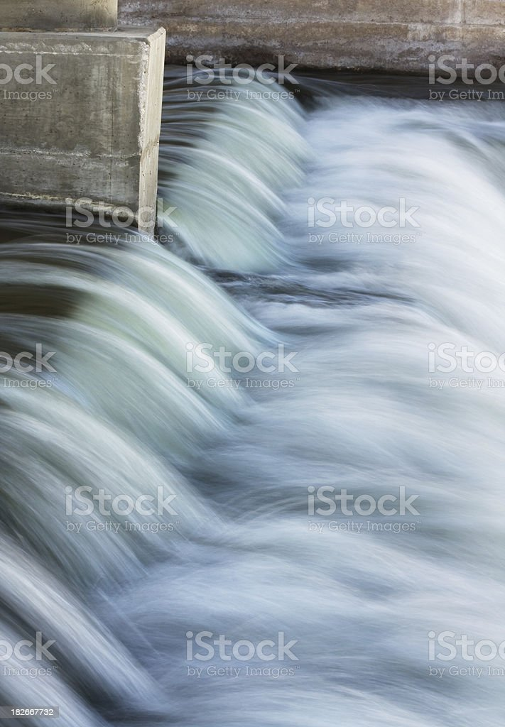 Waste Water Flowing Over Control Dam stock photo