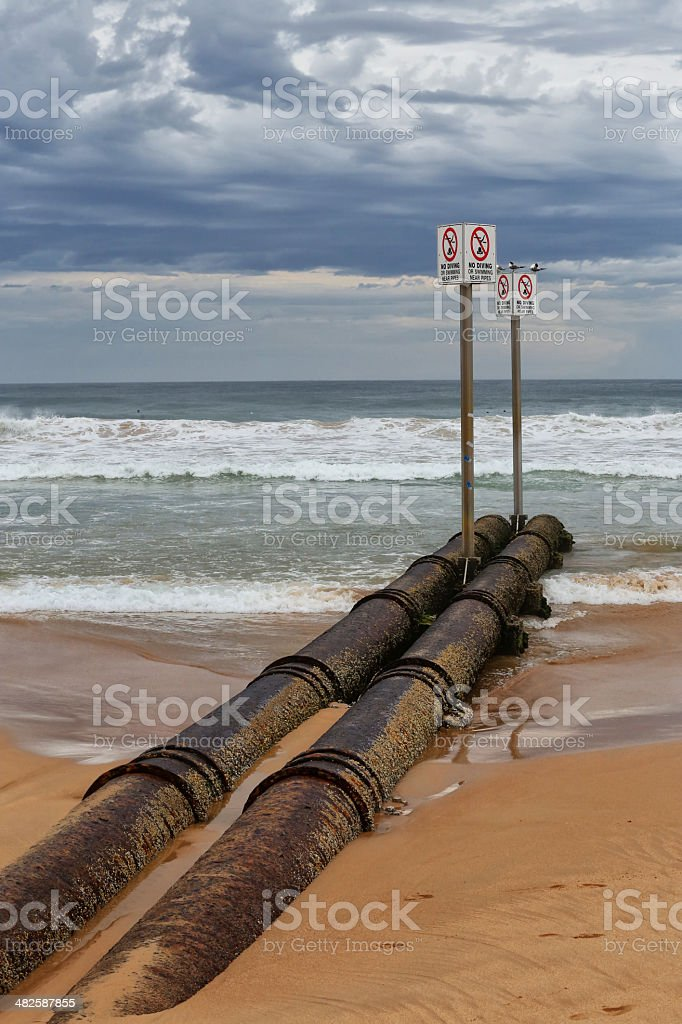 Waste water pipe polluting the ocean in Manly, Australia stock photo