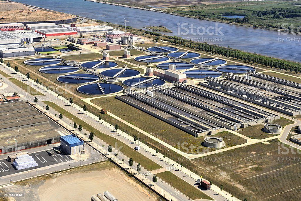 Waste water treatment plant stock photo