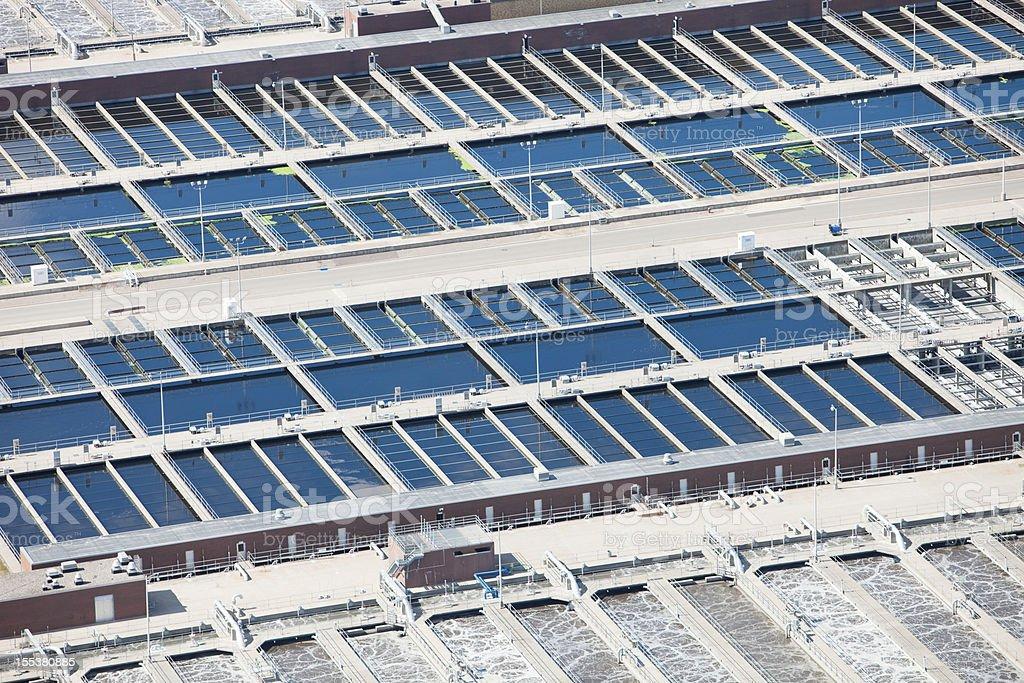 Waste Water Treatment Plant Tanks & Basins Aerial stock photo
