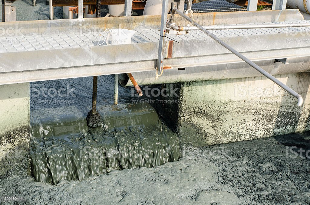 waste water treatment with biological mud stock photo