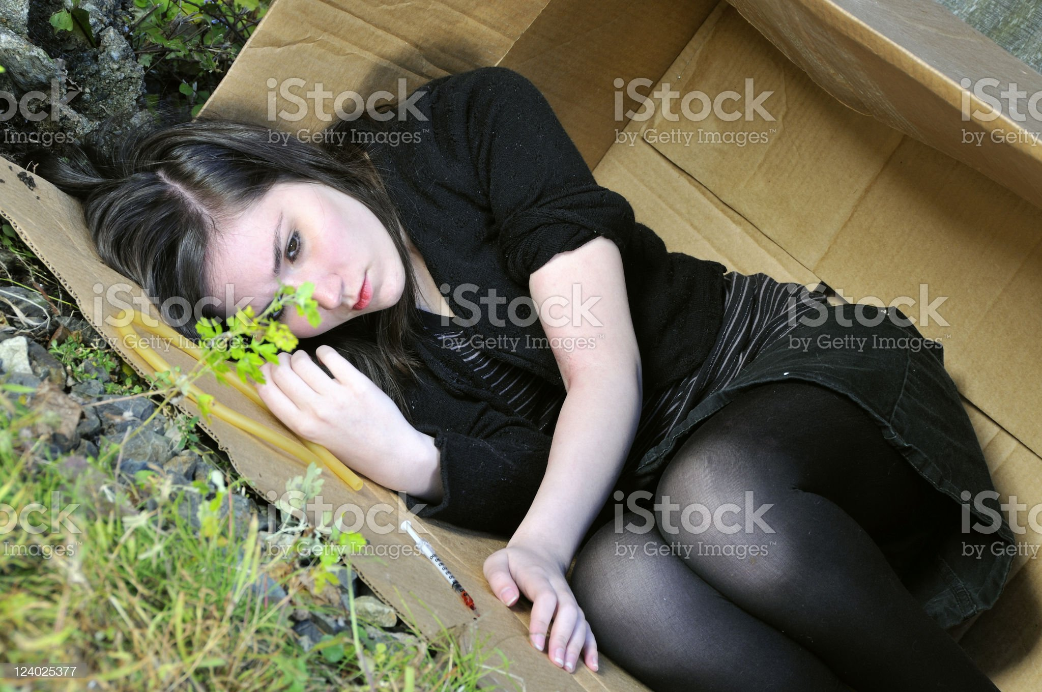 Wasted Youth in Fetal Position royalty-free stock photo