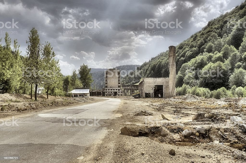 Wasteland Derelict Uranium Complex Ruins stock photo