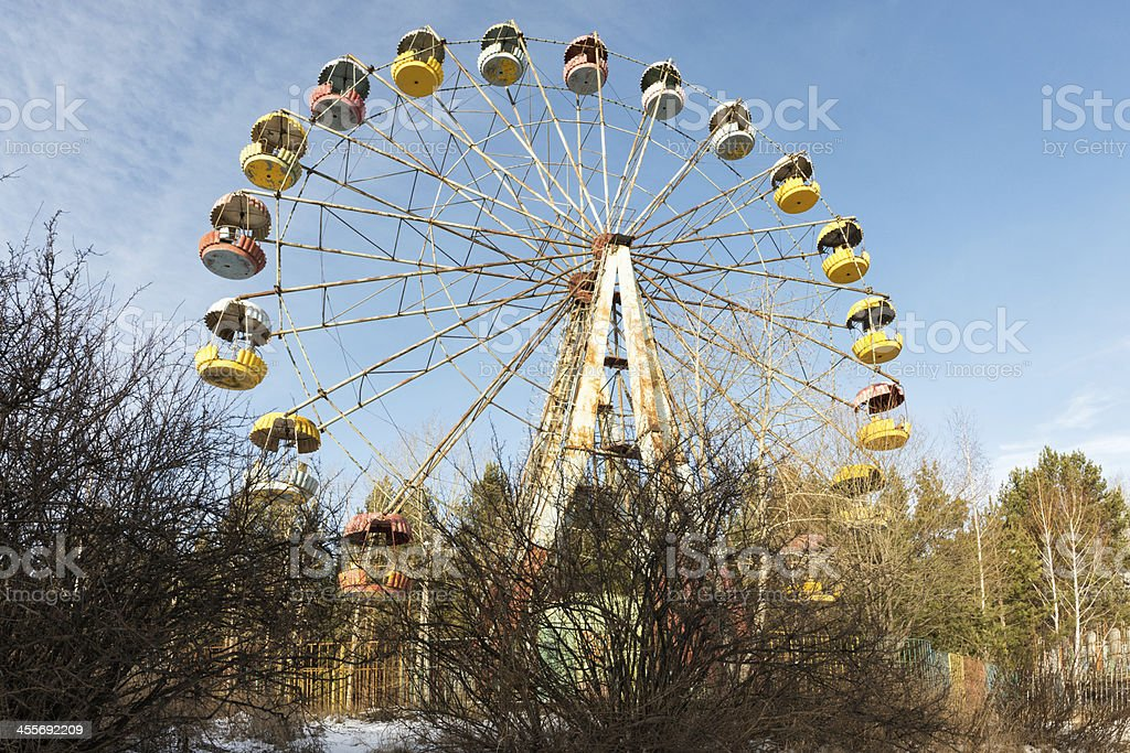 Wasteland with abandoned Ferris wheel, Pervouralsk, Urals, Russi stock photo