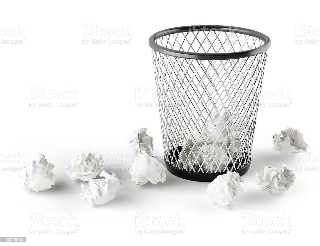 Wastepaper Basket wastepaper basket with wrinkled paper pictures, images and stock