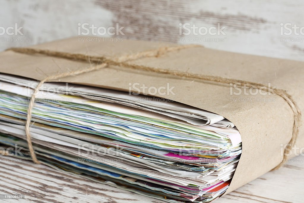 Wastepaper pile of newspapers closeup royalty-free stock photo