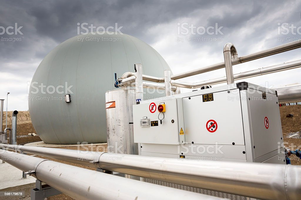 Wastewater treatment facility Gas tank stock photo