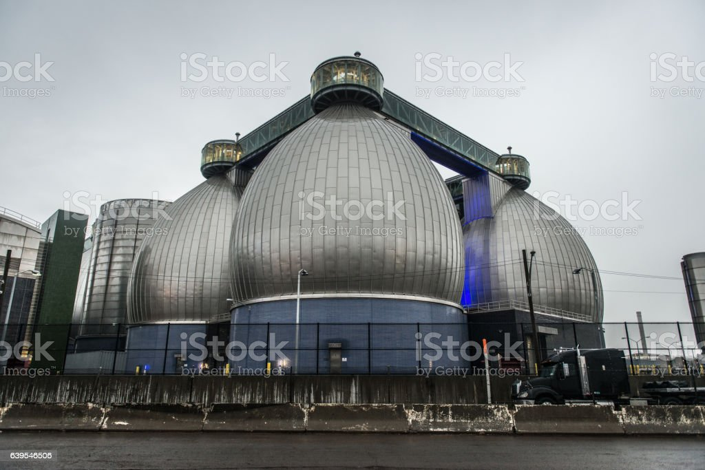Wastewater Treatment Industrial Plant huge connected storages stock photo