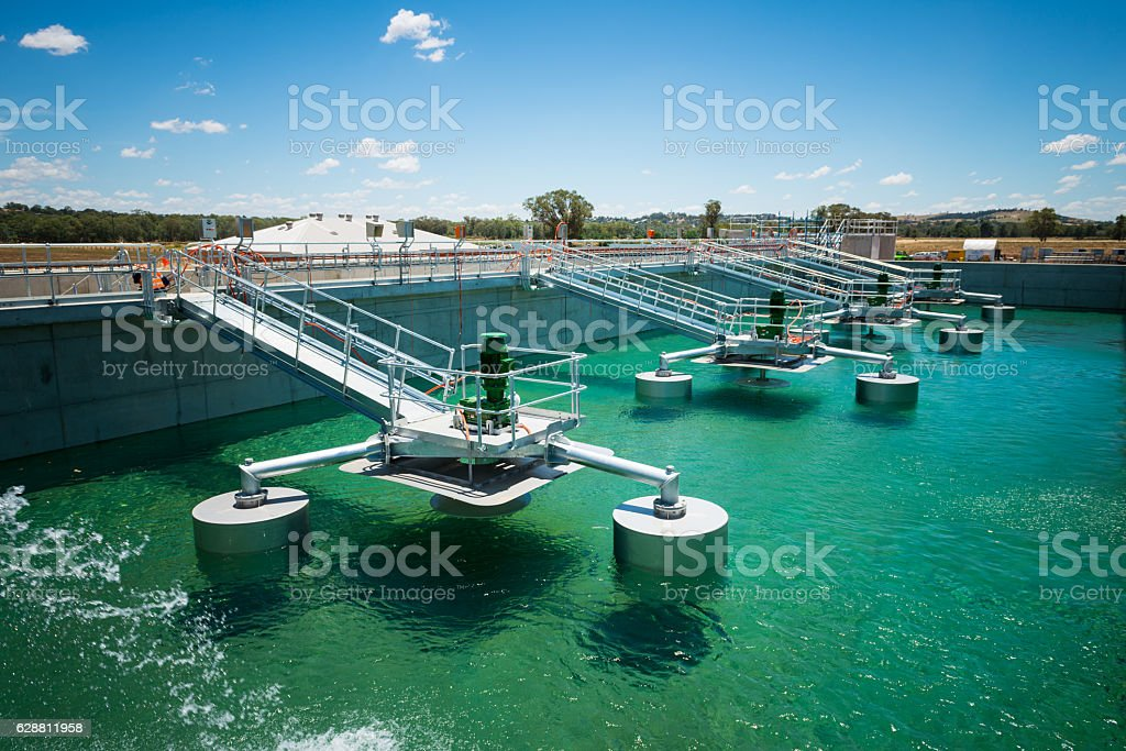 Wastewater Treatment Plant during construction stock photo