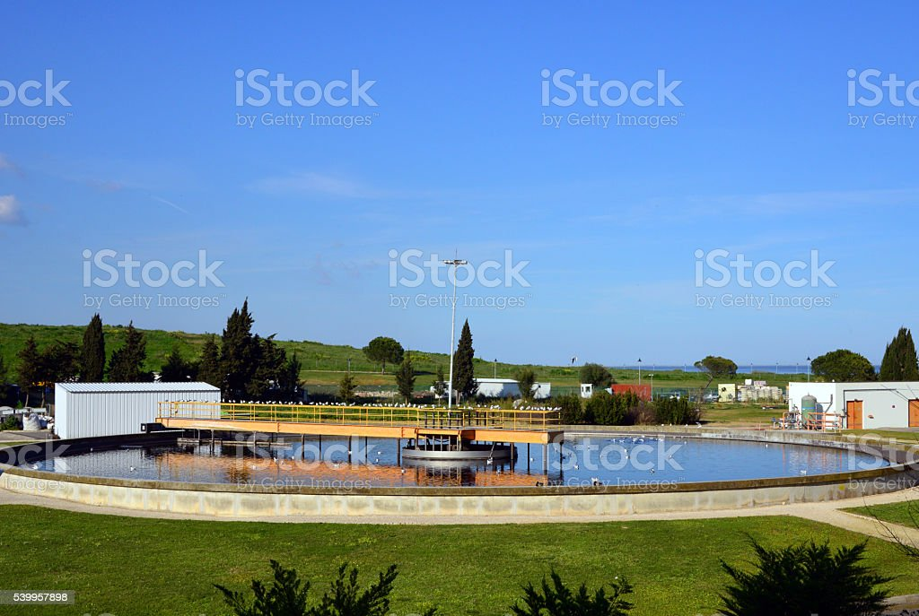 Wastewater treatment plant stock photo