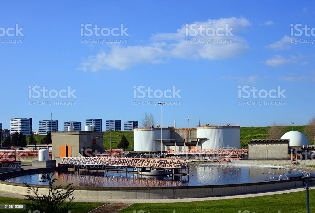 Wastewater treatment plant, sedimentation basin stock photo