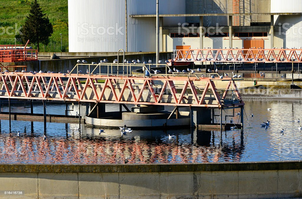 Wastewater treatment plant tank stock photo