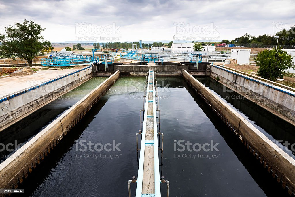 Wastewater treatment plant Water tank stock photo