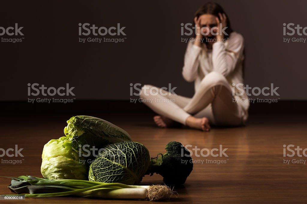 Wasting influence of anorexia stock photo