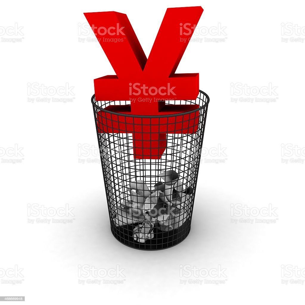 Wasting Money Concept - Red Yen Symbol in Bin stock photo