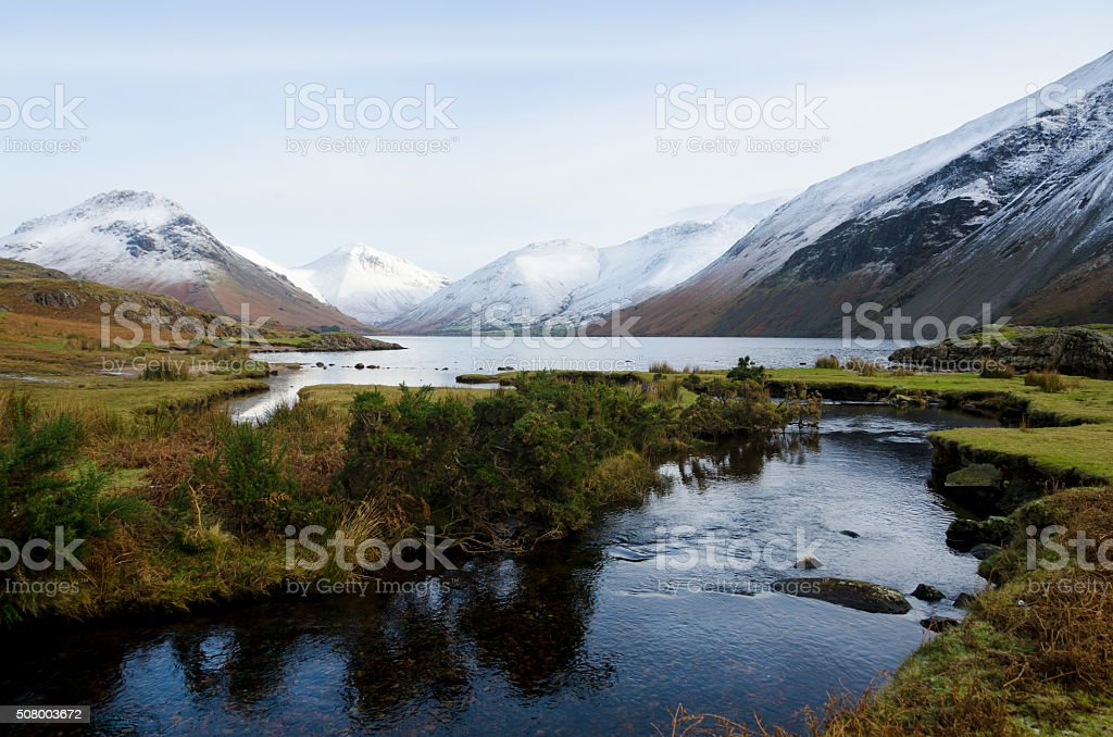 Wastwater in Winter snow. stock photo