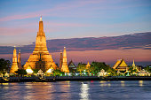 Wat Arun temple and Chao Phraya River, Bangkok
