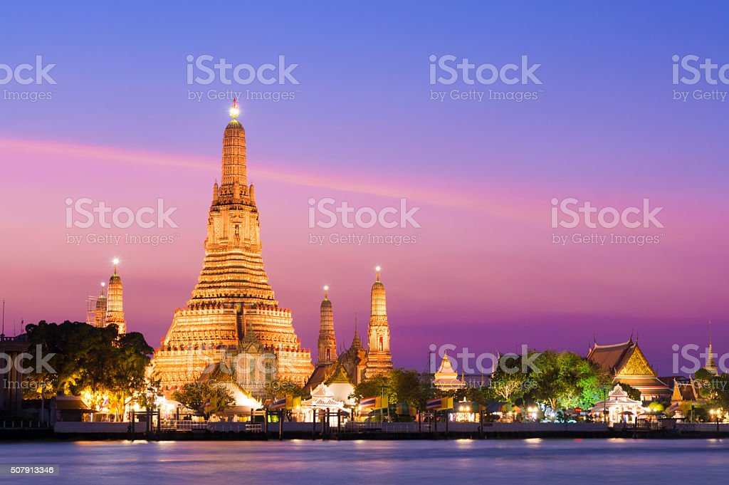 Wat Arun Temple at sunset in Bangkok, Thailand stock photo