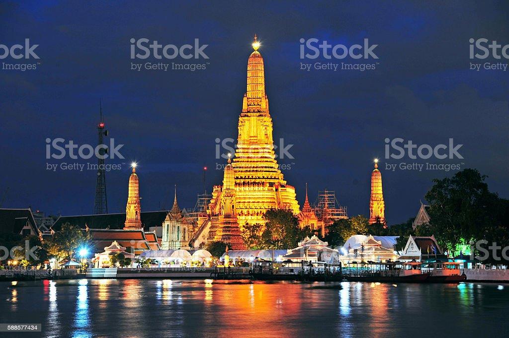 Wat Arun Temple at twilight in Bangkok, Thailand. stock photo