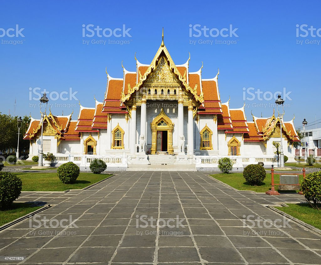 Wat Benchamabophit Temple in Bangkok Thailand royalty-free stock photo