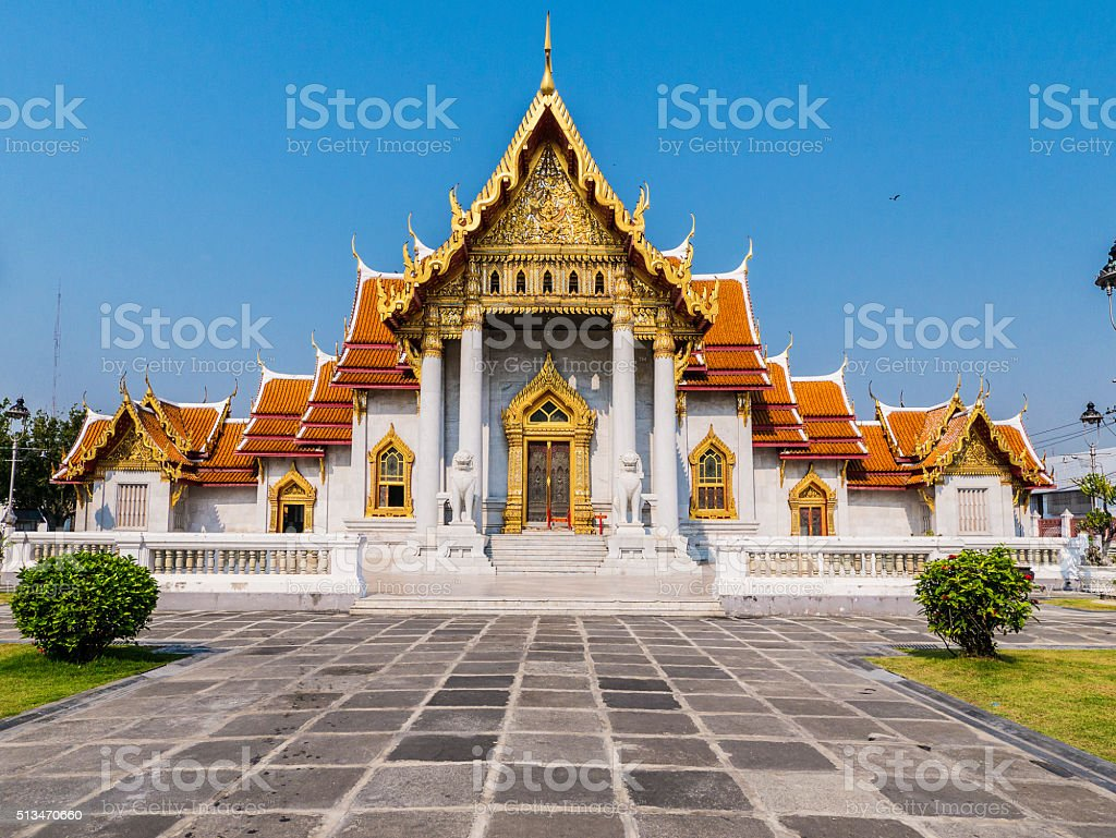 Wat Benchamabophit temple in Bangkok Thailand stock photo