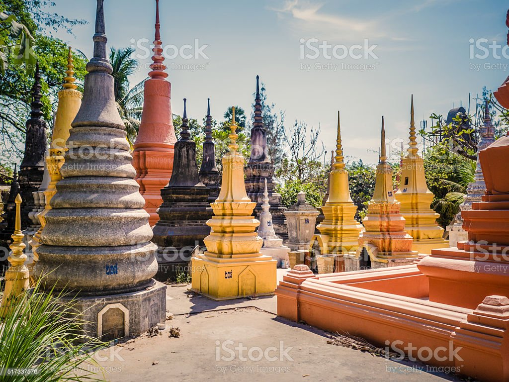Wat Bo Pagoda cemetery Siem Reap Cambodia stock photo