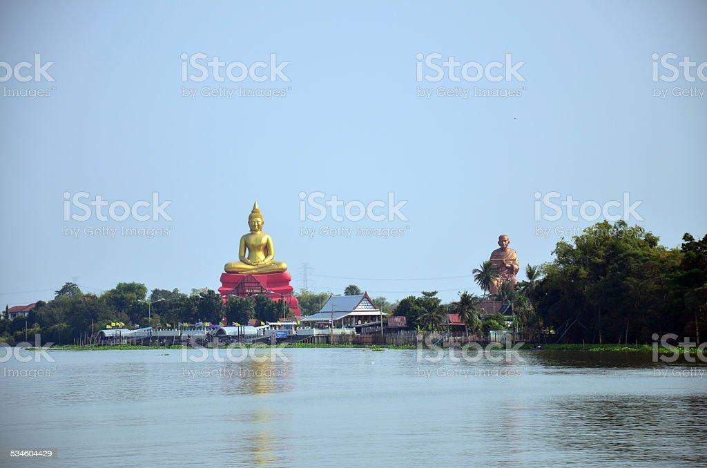 Wat Bot Temple at Chao phraya riverside in Pathum Thani stock photo