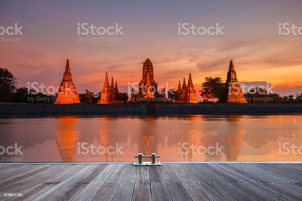 Wat Chaiwatthanaram of Ayutthaya Province stock photo