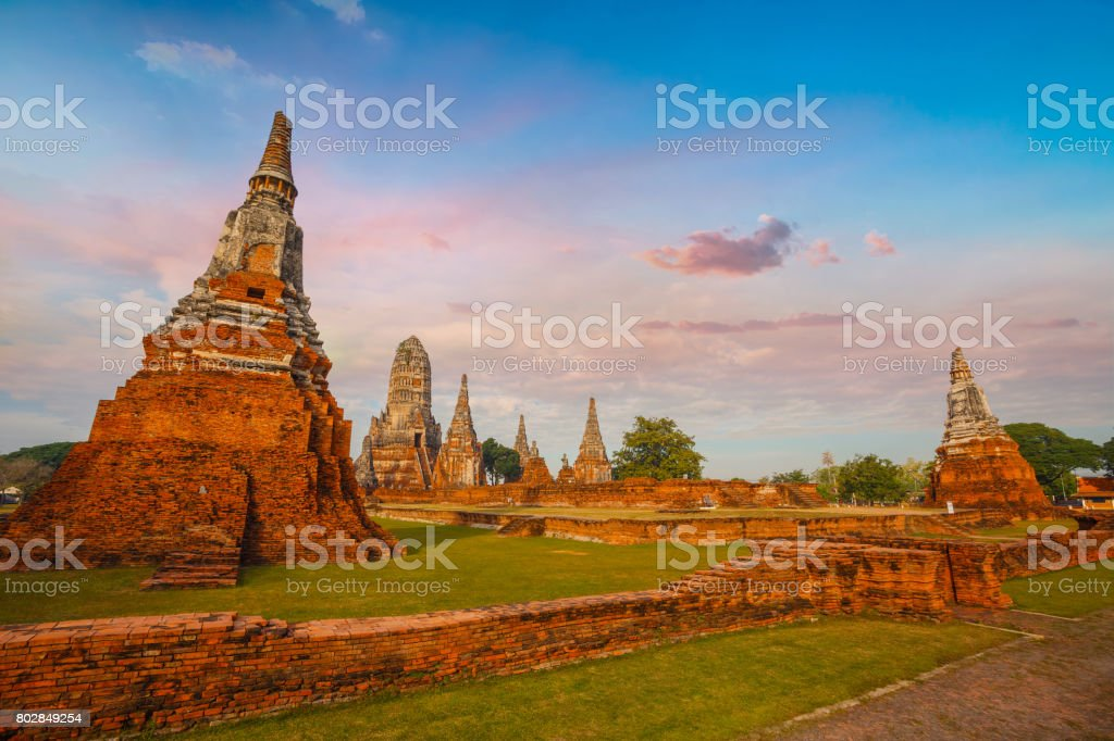 Wat Chaiwatthanaram temple in Ayuthaya Historical Park, a UNESCO world heritage site, Thailand stock photo