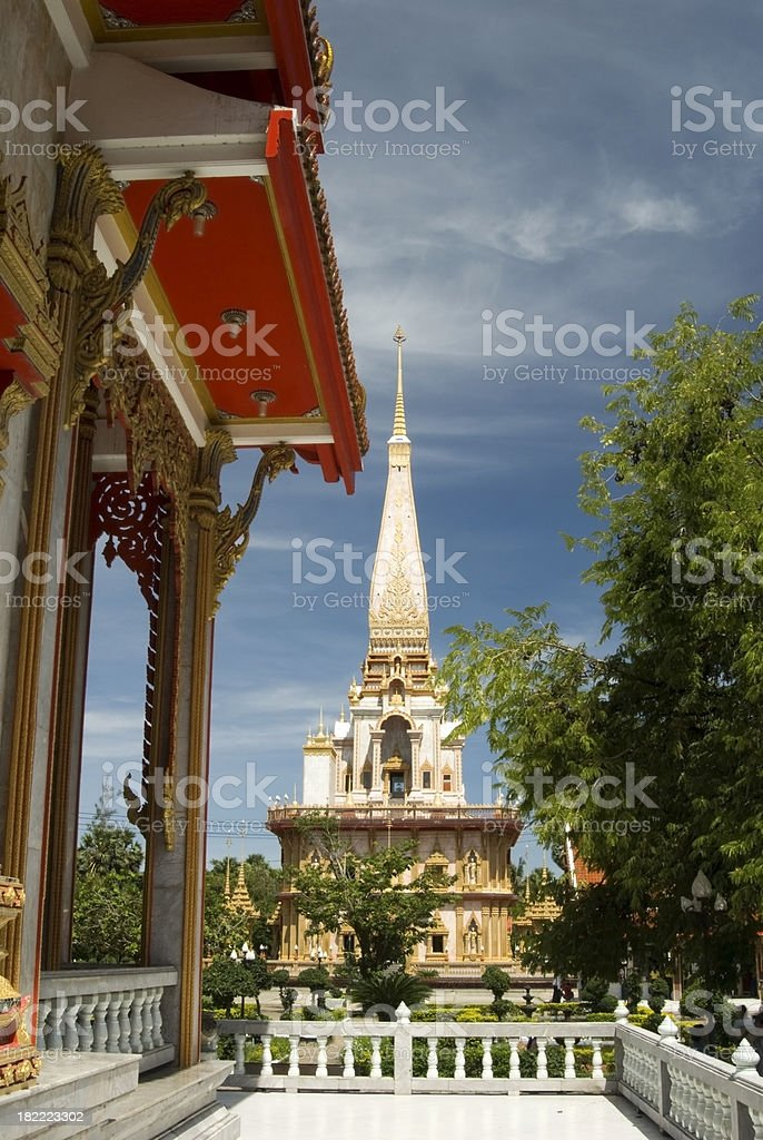 Wat Chalong temple in Phuket in Thailand stock photo