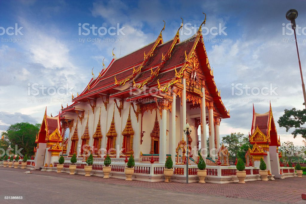 Wat Chalong temple in Phuket Thailand stock photo