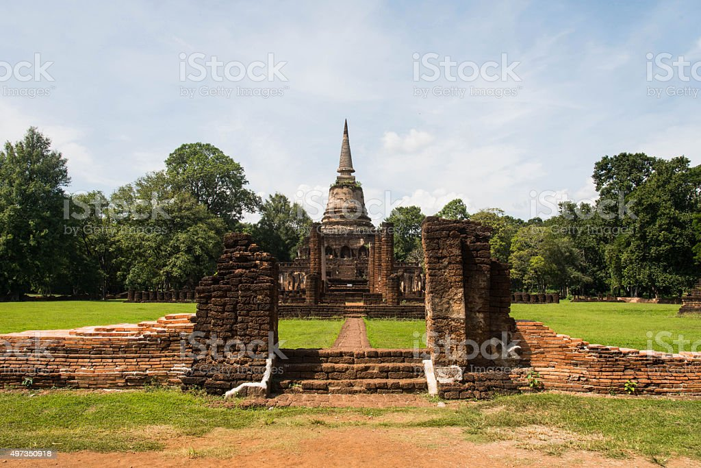 Wat Chang Lom at Srisatchanalai historical park in Sukhothai pro stock photo