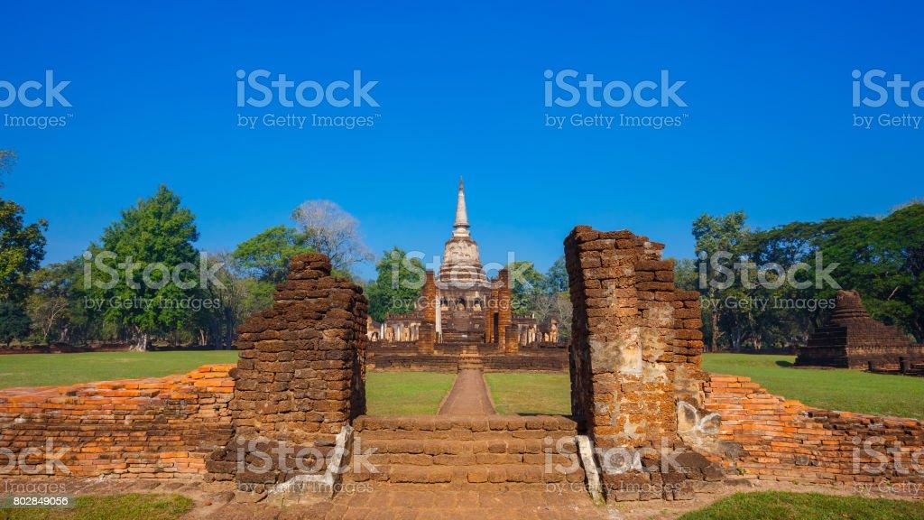 Wat Chang Lom Temple at Si Satchanalai Historical Park in Sukhothai, Thailand stock photo