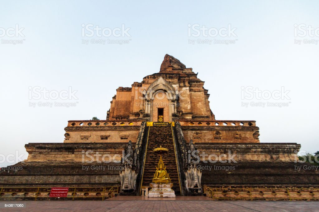 Wat Chedi Luang Buddhist temple in Chiang Mai, Thailand. stock photo
