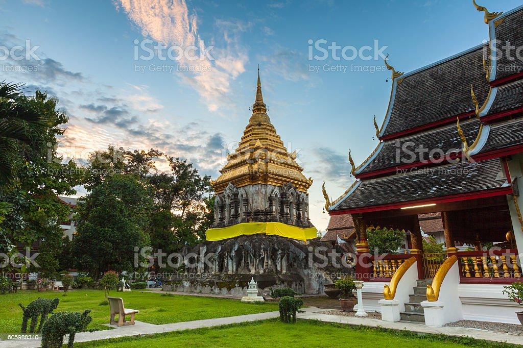 Wat Chiang Man at sunset, Thailand stock photo