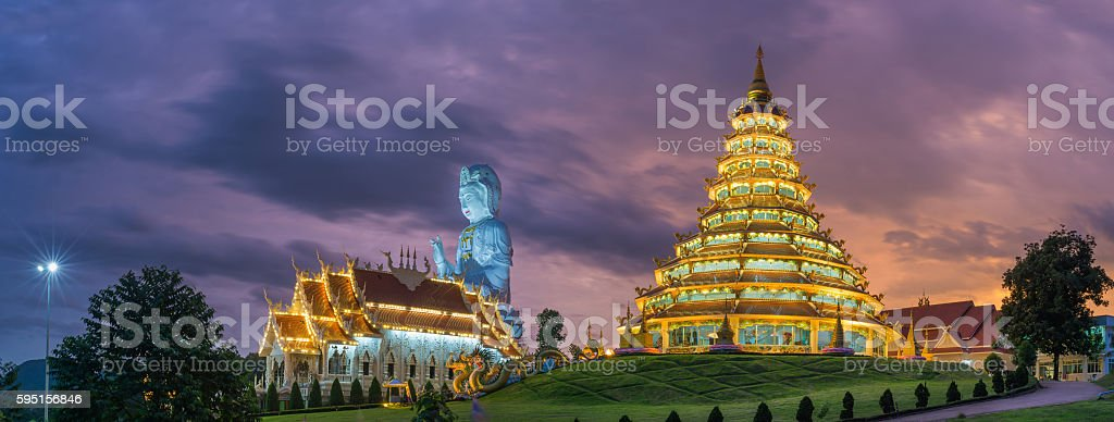 Wat hyua pla kang temple , Chiang Rai,northern of Thailand stock photo