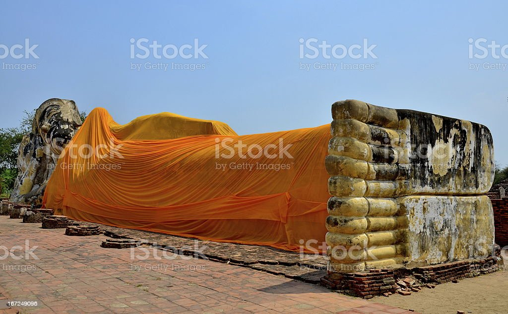 Wat Lokayasutharam reclining Buddha Ayutthaya royalty-free stock photo