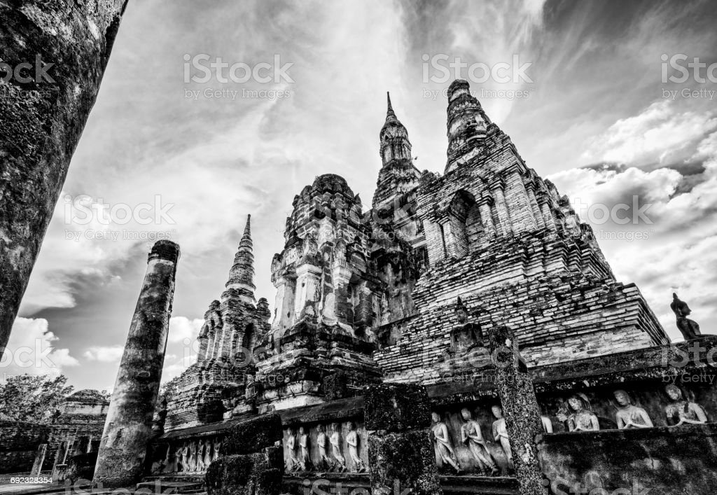 Wat Maha That in vintage style stock photo