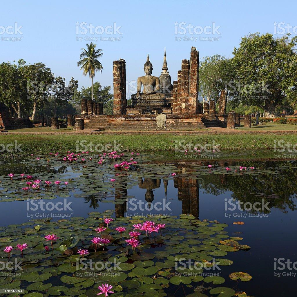 Wat mahathat at morning light stock photo