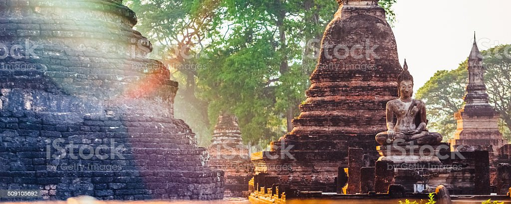 Wat Mahathat temple during twilight, Sukhothai, Thailand stock photo